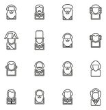 Avatar Icons Historical Figures Set 1 Thin Line Vector Illustration Set. This image is a vector illustration and can be scaled to any size without loss of Royalty Free Stock Photos