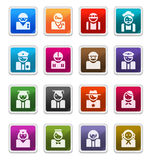 Avatar Icons (occupations) - sticker series. Avatar (occupations) Sticker Icons isolated over white background - sticker series stock illustration