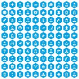 100 avatar icons set blue. 100 avatar icons set in blue hexagon isolated vector illustration Vector Illustration