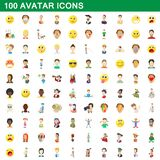 100 avatar icons set, cartoon style. 100 avatar icons set in cartoon style for any design illustration stock illustration