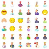 Avatar icons set, cartoon style. Avatar icons set. Cartoon style of 36 avatar vector icons for web isolated on white background Royalty Free Stock Image
