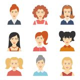 Avatar Icons Set. Decorative social media forum woman users profile avatar hairstyle design color icons set isolated flat vector illustration Royalty Free Stock Photos