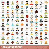 100 avatar icons set, flat style. 100 avatar icons set in flat style for any design vector illustration Royalty Free Illustration
