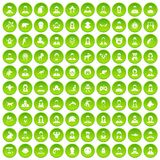 100 avatar icons set green circle. Isolated on white background vector illustration Royalty Free Stock Photography