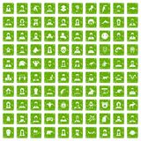 100 avatar icons set grunge green Stock Image