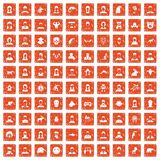 100 avatar icons set grunge orange. 100 avatar icons set in grunge style orange color isolated on white background vector illustration Royalty Free Illustration