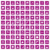 100 avatar icons set grunge pink. 100 avatar icons set in grunge style pink color isolated on white background vector illustration Stock Illustration