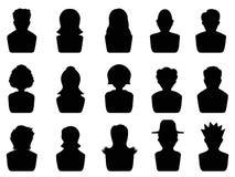 Avatar icons set. Isolated black avatar icons set on white background Stock Photo