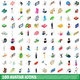 100 avatar icons set, isometric 3d style. 100 avatar icons set in isometric 3d style for any design vector illustration Stock Photography
