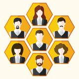 Avatar icons set of male and female characters Stock Images