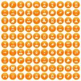 100 avatar icons set orange. 100 avatar icons set in orange circle isolated on white vector illustration royalty free illustration