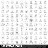 100 avatar icons set, outline style. 100 avatar icons set in outline style for any design vector illustration stock illustration