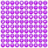 100 avatar icons set purple. 100 avatar icons set in purple circle isolated on white vector illustration Stock Photos