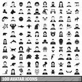 100 avatar icons set, simple style Stock Image