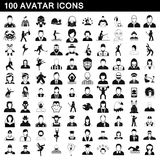 100 avatar icons set, simple style Royalty Free Stock Images