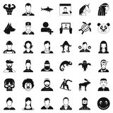 Avatar icons set, simple style. Avatar icons set. Simple style of 36 avatar vector icons for web isolated on white background Royalty Free Stock Photos