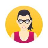Avatar ikona, kreskówki dziewczyna w szkłach w mieszkanie stylu Fotografia Royalty Free