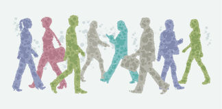 Avatar illustration - people walking silhouettes stock illustration