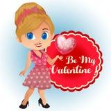 Avatar kreskówki valentine temat z rocznik suknią royalty ilustracja
