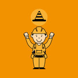 avatar man construction worker with cone warning icon Royalty Free Stock Photo