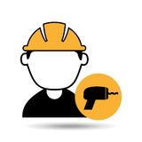Avatar man construction worker with drill tool icon Royalty Free Stock Photo