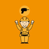 Avatar man construction worker with drill tool icon Stock Images