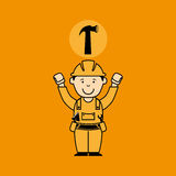 Avatar man construction worker with hammer tool icon. Illustration Royalty Free Stock Images