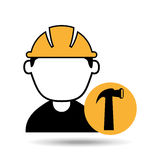 Avatar man construction worker with hammer tool icon. Illustration Stock Images