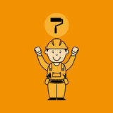 Avatar man construction worker with roller paint icon Stock Image