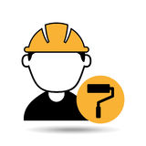 Avatar man construction worker with roller paint icon Royalty Free Stock Photography