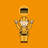 Avatar man construction worker toolbox icon. Illustration Stock Images