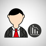 Avatar man with suit and statistics graphic Royalty Free Stock Images