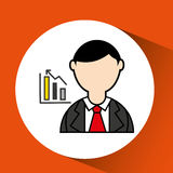 Avatar man with suit and statistics graphic Royalty Free Stock Image