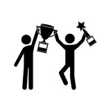 Avatar man and trophy. Avatar man with arms up holding a winner trophy icon over white background. vector illustration Stock Photos