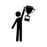 Avatar man and trophy. Avatar man with arms up holding a winner trophy icon over white background. vector illustration Royalty Free Stock Photography