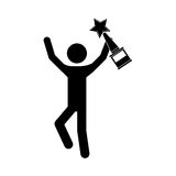 Avatar man and trophy. Avatar man with arms up holding a winner trophy icon over white background. vector illustration Stock Photo