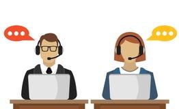 Avatar maschio e femminile della call center Immagini Stock Libere da Diritti