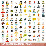100 avatar mastery icons set, flat style. 100 avatar mastery icons set in flat style for any design vector illustration Royalty Free Stock Photo