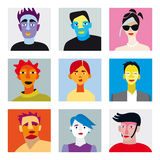 Avatar men women set. Nine faces of men and women for internet  and social-media avatar Royalty Free Stock Images