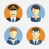 Avatar mensen Vlak Ontwerp Vectorpictogrammen die verschillende Beroepenloodsen en mooie steward in eenvormig afschilderen Stock Fotografie