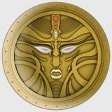 Avatar, moneda, máscara o signet de oro. Insignia mágica Fotografía de archivo libre de regalías