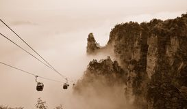 Avatar mountains in China. Fog in mountains of China flying like a bird/ Harmony and peace in the mountains stock photography