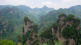 Avatar Mountains Of Zhangjiajie Forest Park With Stone Pillars Rock Formations. Amazing view of mountain landscape with stone pillars and rock formations in stock video