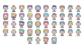 Avatar people character funny diversity with many kind of expression Stock Images