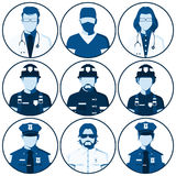 Avatar of people of emergency services Stock Photos