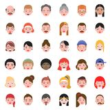 Avatar people head difference hair style icon set 2, flat design.  vector illustration