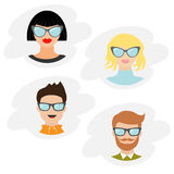 Avatar people icon set. Cute cartoon character. Diverse face collection. Men women wearing eyeglasses.. Male female head with sung Royalty Free Stock Photos
