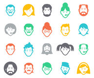 Avatar and people icons. Collection of people avatars for profile page, social network, social media, different age man and woman characters, professional royalty free illustration