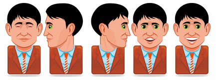 Avatar people icons (facial expression:blink,rotat. Set of Avatar people icons (facial expression:blink,rotate head,speak stock illustration
