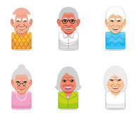 Avatar people icons (senior) Stock Photos